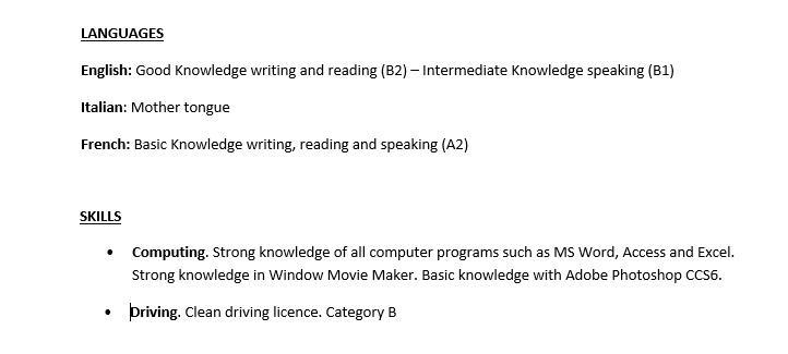 scrivere curriculum in inglese