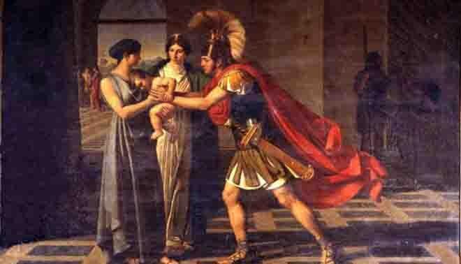incontro tra Ettore e Andromaca