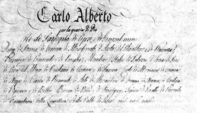stesura dello Statuto albertino