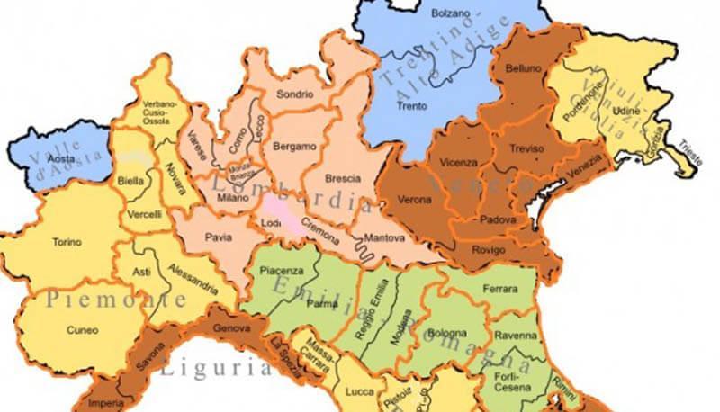 Cartina Nord Italia Con Regioni.Italia Settentrionale Ricerca Descrizione E Caratteristiche Generali