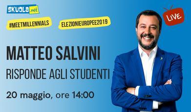 """Europee 2019, Salvini a Skuola.net: """"Il 23 maggio incontro la prof di Palermo e i suoi studenti"""". E sull'Unione: """"Voglio stare in Europa ma da italiano"""""""
