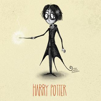 I personaggi principali di Harry Potter se fossero disegnati da Tim Burton
