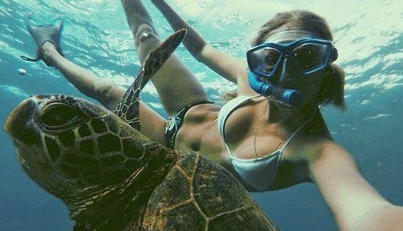 Pinne, boccaglio e selfie: la foto si fa sott'acqua