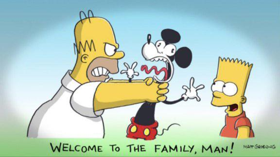 "Fox entra in Disney e Homer Simpson ""strangola"" Topolino"
